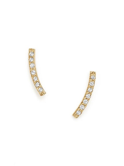 14k Yellow Gold Small Curved Bar Stud Earrings With Pavé Diamonds
