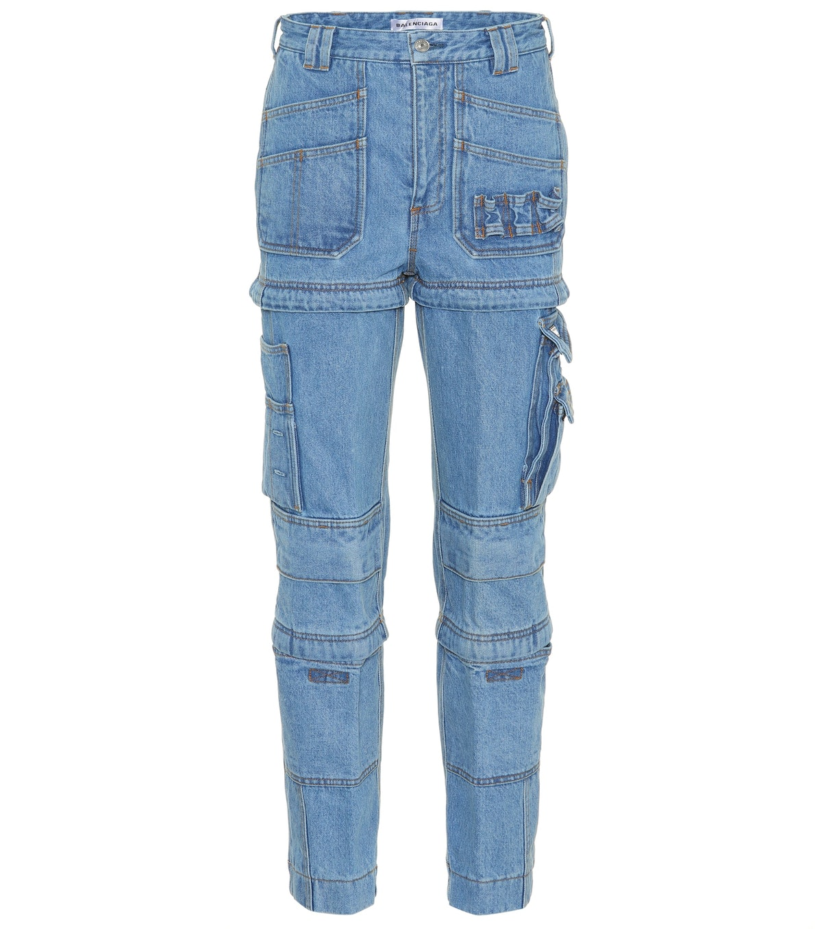 Multi-Zip High-Waist Jeans