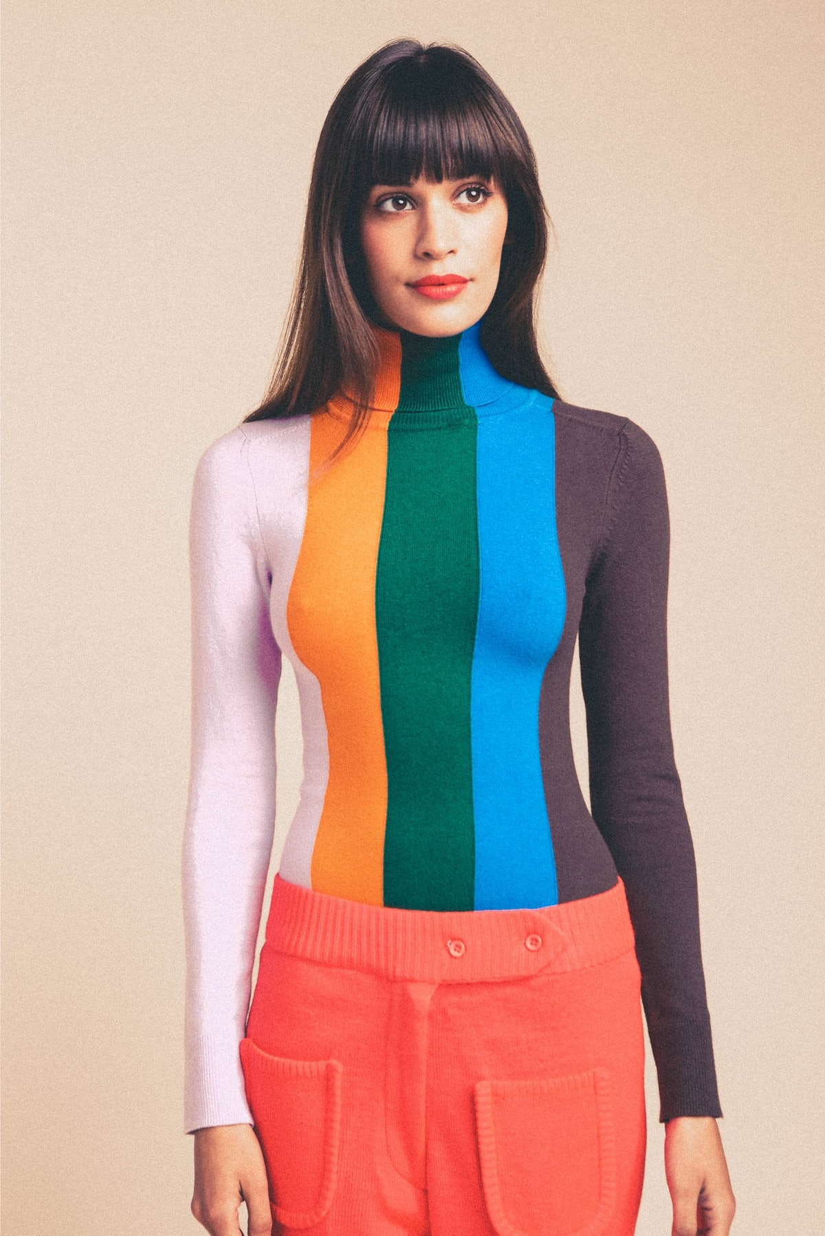 Multi-Color Vertical Stripe Turtleneck