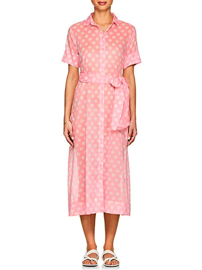 Dotted Cotton Voile Shirtdress
