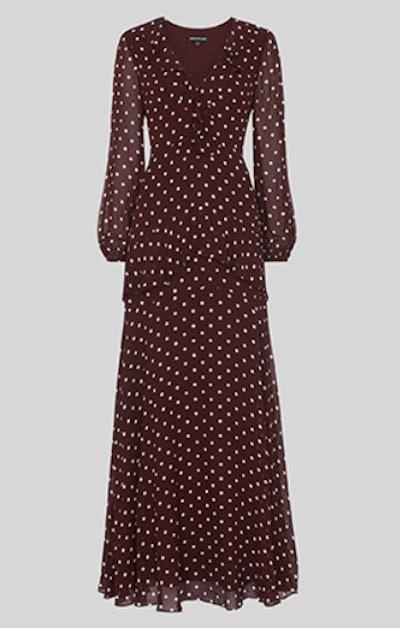 Desiree Spot Frill Maxi Dress