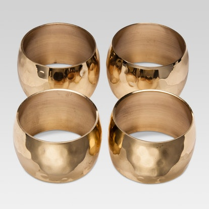 Threshold Hammered Napkin Ring Gold Large 4pk