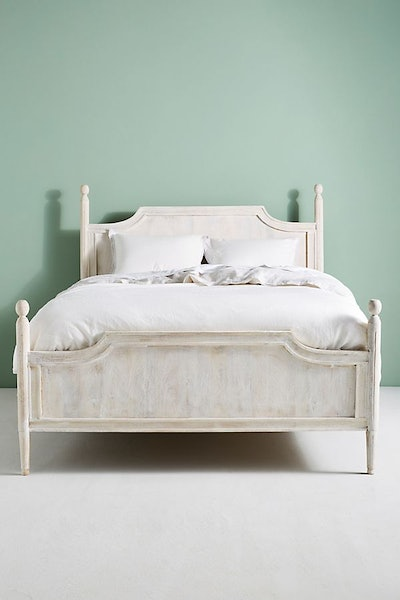 Queen Washed Wood Bed in White