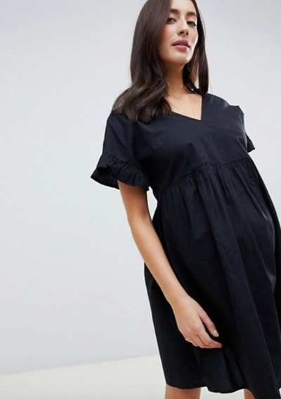 ASOS DESIGN Maternity V Front V Back Cotton Smock Mini Dress