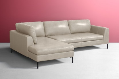 Edlyn Two-Piece Chaise Sectional in Ivory Leather