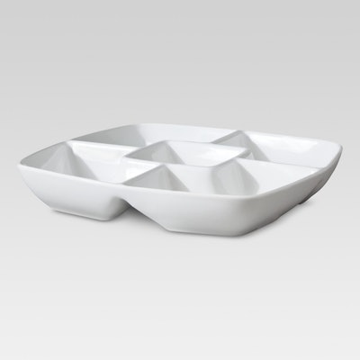 Threshold Square Porcelain Divided Serving Platter