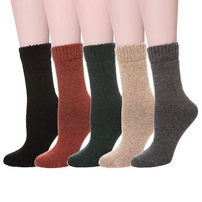 Velice Women's Merino Wool Crew Socks (5-Pack)