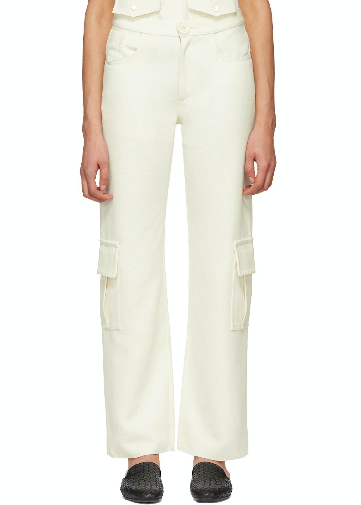 White Wool Cargo Pants