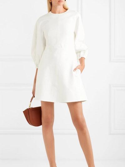 Button-Embellished Stretch-Jersey Mini Dress