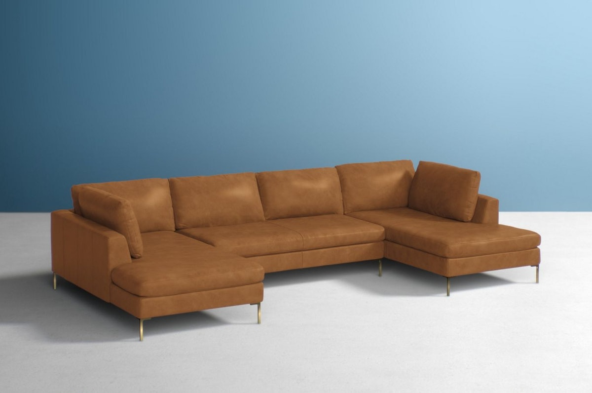 Edlyn Three-Piece U-Shaped Sectional in Tan Leather