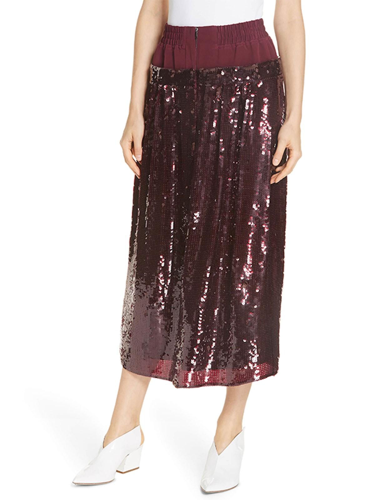 Sequin Layer Silk Midi Skirt