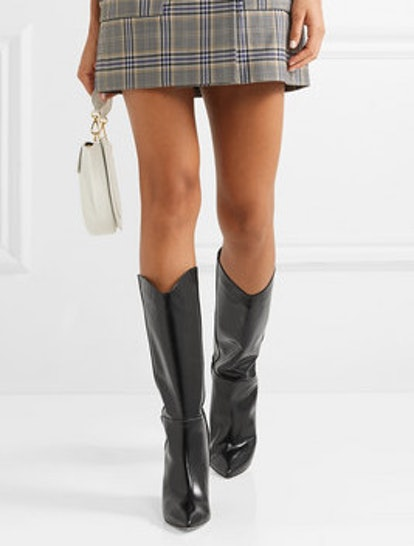 Logan Glossed-Leather Knee Boots