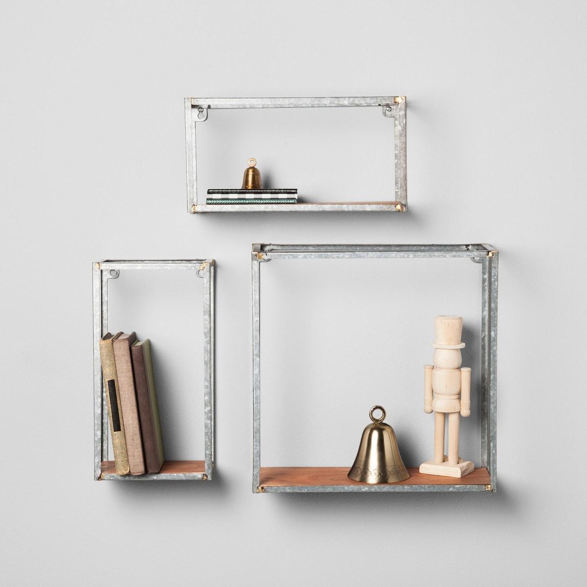 Galvanized Metal and Wood Wall Shelf Set - Hearth & Hand with Magnolia
