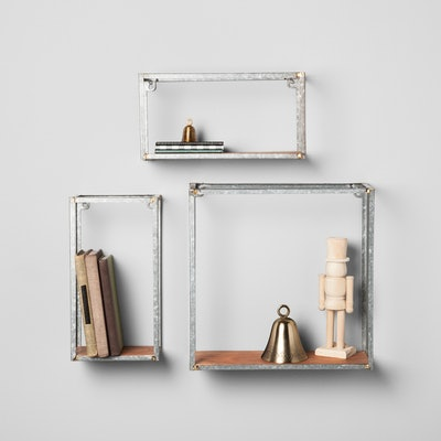 Galvanized Metal and Wood Wall Shelf Set - Hearth & Hand with Magnolia