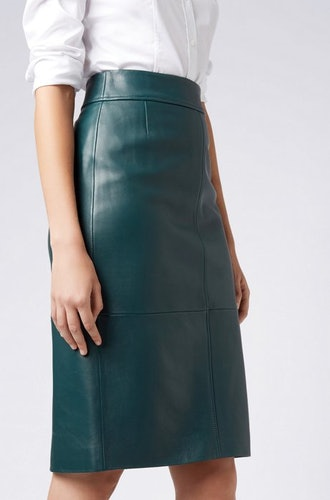 Lambskin Leather Pencil Skirt With Paneled Structure