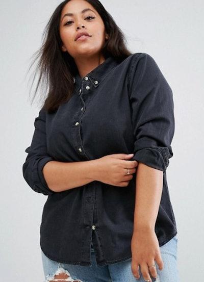 ASOS DESIGN CURVE Denim Shirt In Washed Black