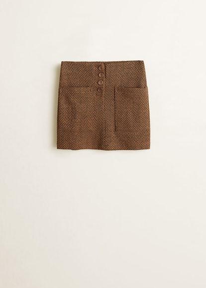 Herringbone buttons skirt