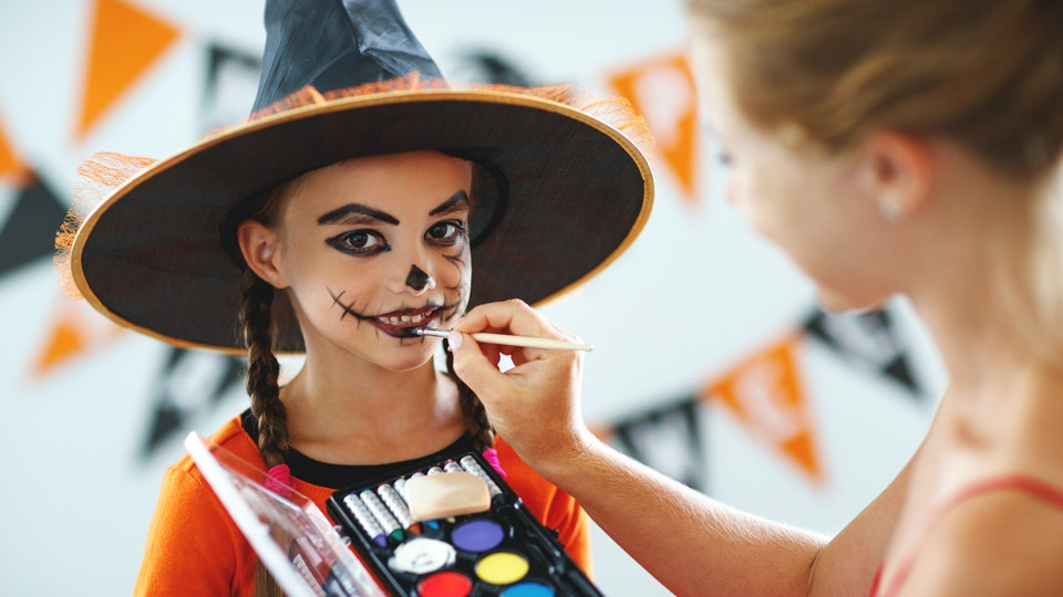 Easy Halloween Makeup For Kids.Blue Squid Face Paint And Stencil Kit