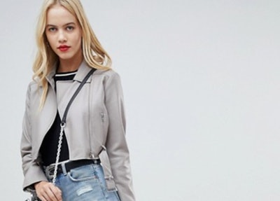 ASOS DESIGN Leather Look Biker Jacket