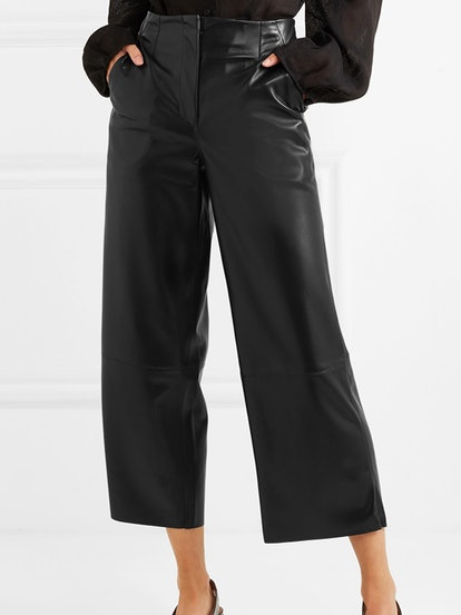 Africa Cropped Vegan Faux Leather Wide-Leg Pants