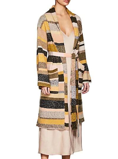 The Elder Statesman Cashmere Striped Robe