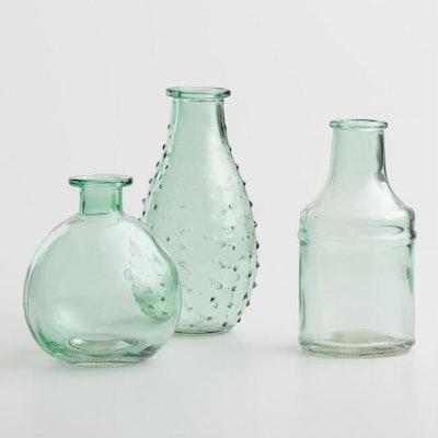 Aqua Green Glass Bud Vases (set of 3)
