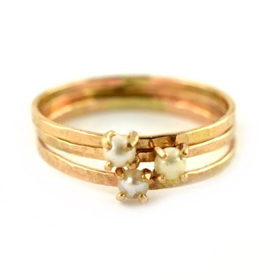 Aquarian Thoughts - Delicate Pearl Ring