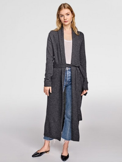 Long Cashmere Robe in Charcoal Hthr