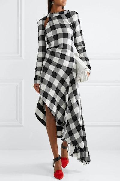 Asymmetric Gingham Crepe De Chine Midi Dress