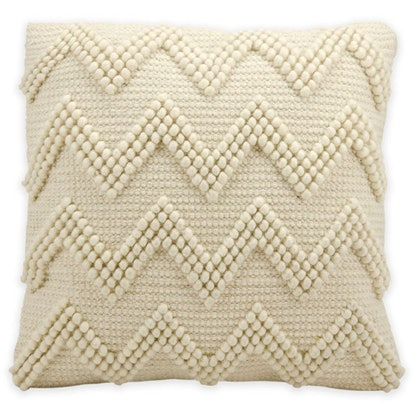 Mina Victory Lifestyles Large Chevron Square Throw Pillow in Ivory