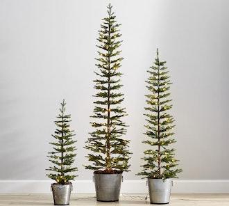 Lit Pine Trees in Galvanize Bucket