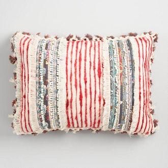 Multicolor Fringe And Tassel Lumbar Pillow