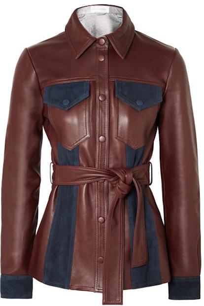 Suede-Paneled Leather Jacket