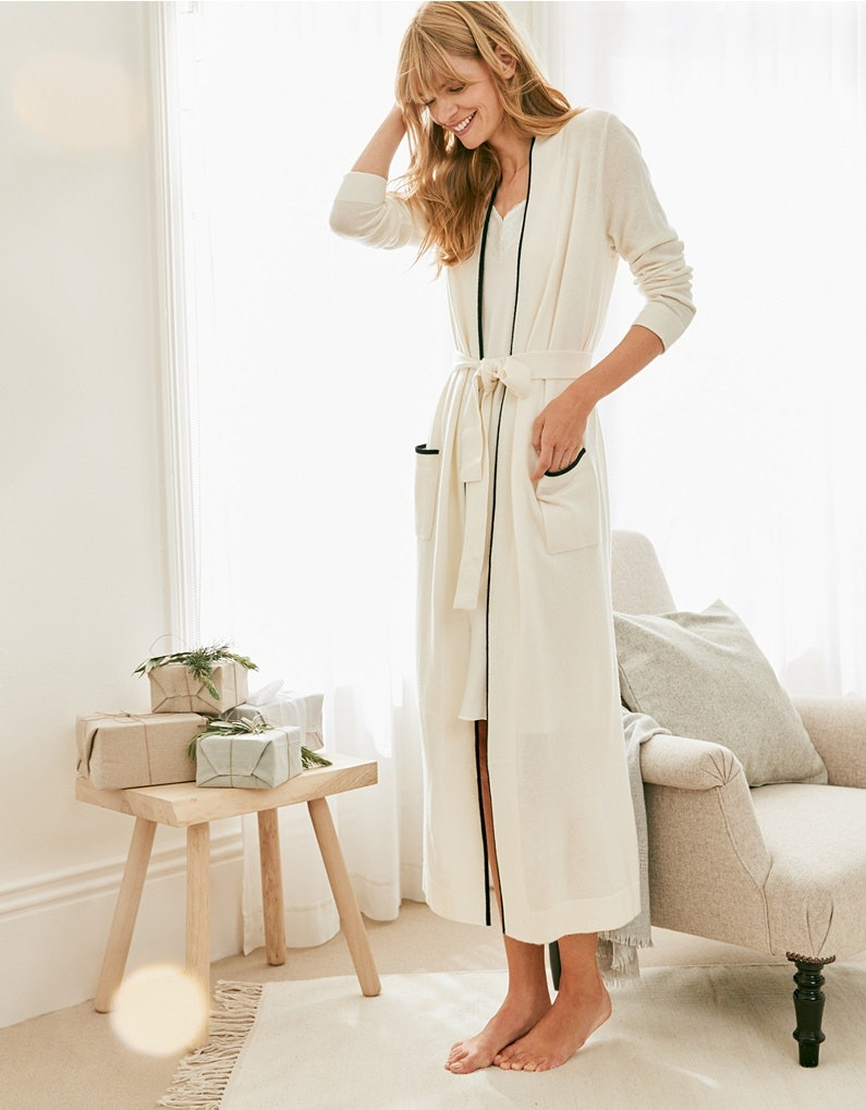 13 Soft Cashmere Robes To Lounge In During The Holidays (& Beyond)
