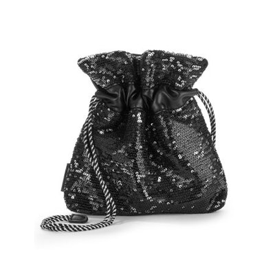Kendall + Kylie Small Pouch Crossbody With Black + Silver Sequins