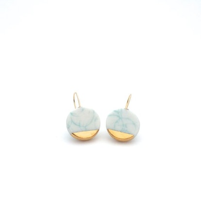 OeiCeramics - Pastel Green Porcelain Gold Earrings
