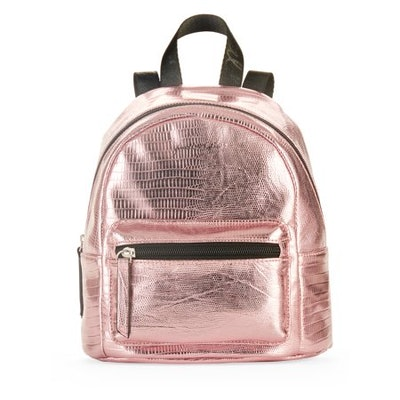 Kendall + Kylie Pink Metallic Snake Backpack