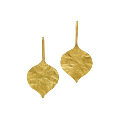 22kt Gold Peepal Leaf Earrings