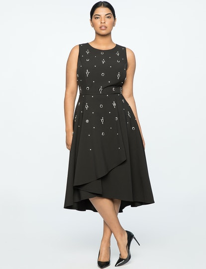 Jason Wu X ELOQUII Crepe Embellished Fit and Flare Dress