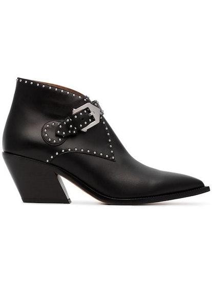 Black Elegant 60 Studded Leather Ankle Boots