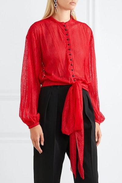 Tie-Front Lace Blouse