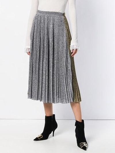 Two-Tone Metallic Pleated Skirt