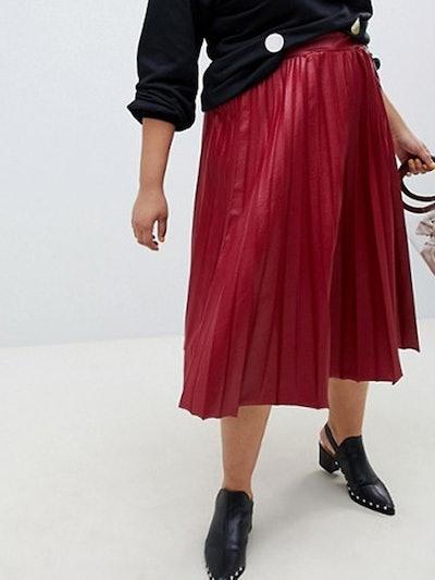Lost Ink Pleated Midi Skirt