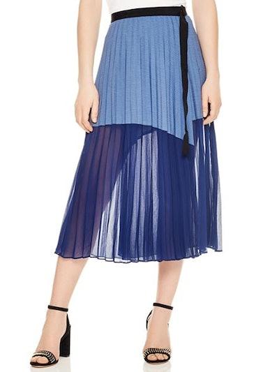 Striped Mesh Midi Skirt