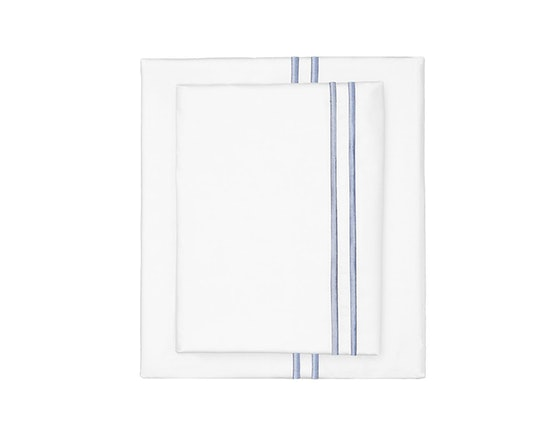 French Blue Lines Embroidered Sheet Set (Twin)