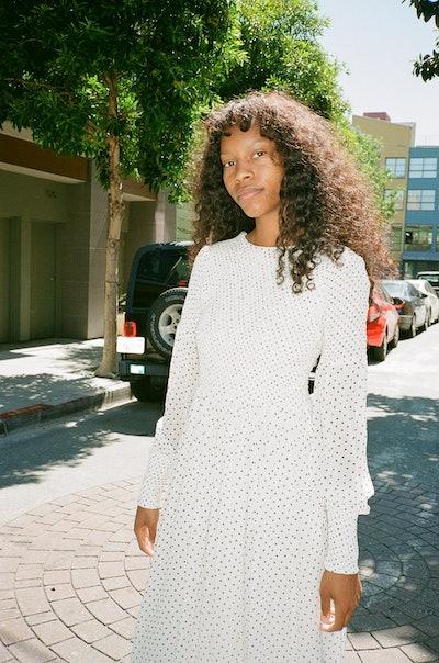 GANNI Rommetty Georgette Dress - Black & White Polka Dots