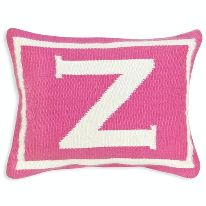 Reversible Junior Pink Letter Throw Pillow