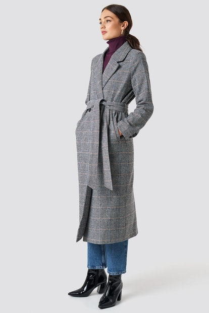 Double Breasted Plaid Coat Grey
