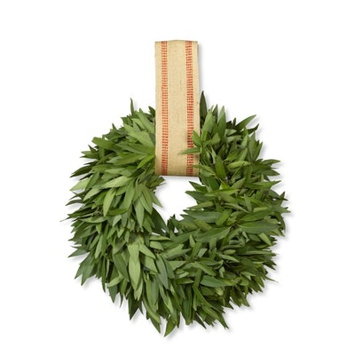 Bay Leaf Wreath With Burlap Ribbon Hanger