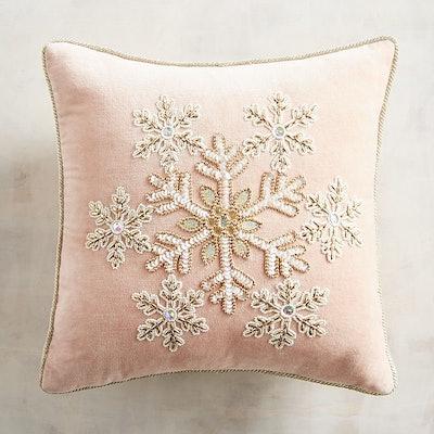 Beaded Blush Snowflake Pillow
